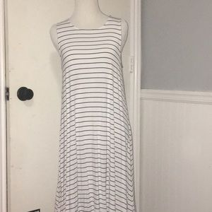 Long black and white striped dress.